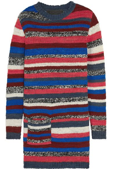 The Elder Statesman striped cashmere mini sweater dress available at NET-A-PORTER