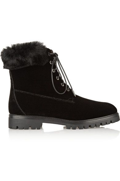 The Heilbrunner shearling-trimmed black velvet boots by Aquazzura are available at MYTHERESA.com