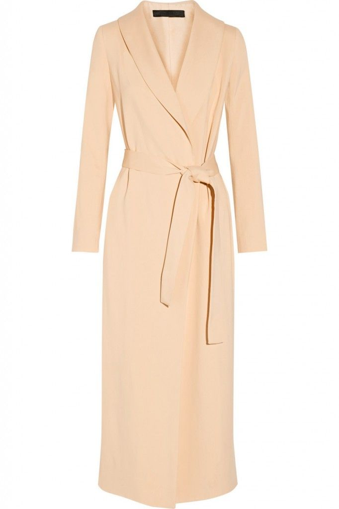 The Row Dame beige crepe wrap coat available at NET-A-PORTER