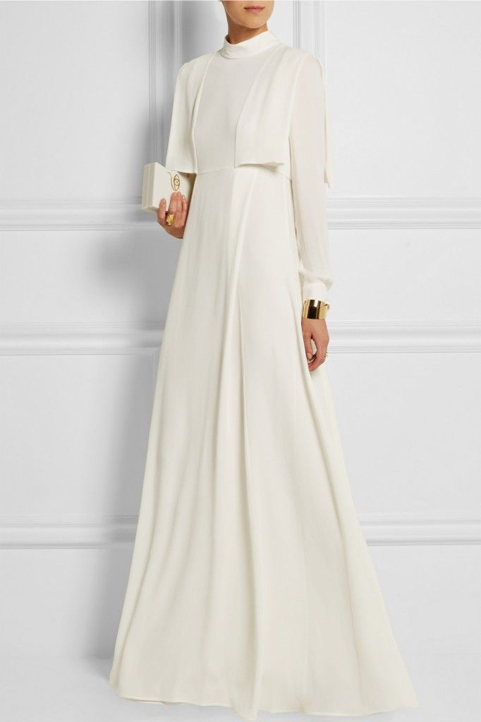 Valentino ivory silk gown featuring draped cape-like panels, available at NET-A-PORTER