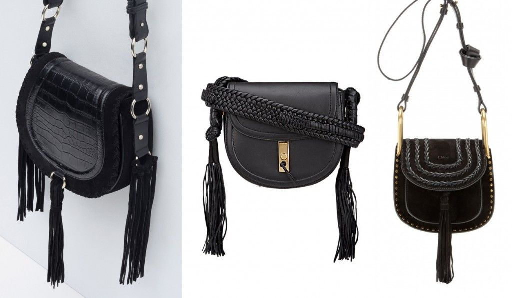 Zara black leather messenger bag with fringes Vs. Altuzarra hianda Bullrope saddle bag in black smooth calfskin styled with a braided strap tipped with long tassels.*Altuzarra's bag is available at BARNEY'SZara's bag is available HERE