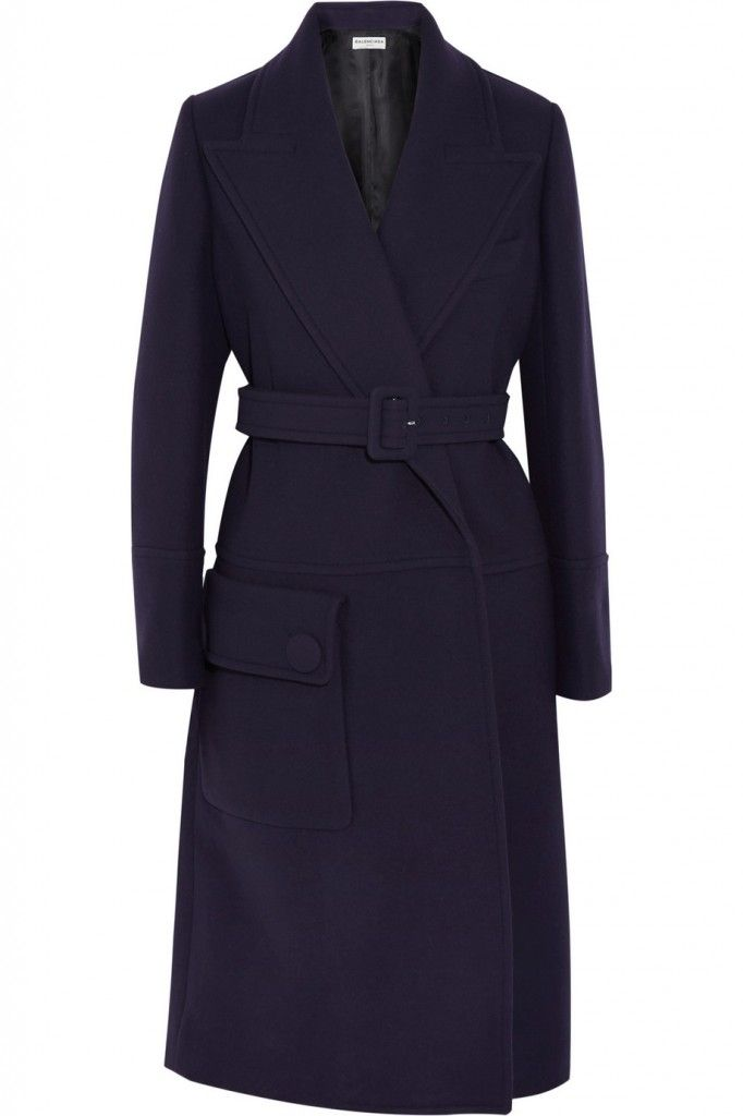 Balenciaga oversized navy wool-blend coat available at NET-A-PORTER