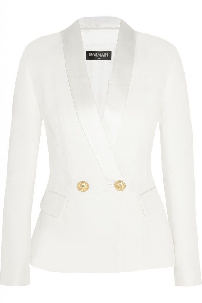 Balmain double-breasted white crepe blazer 50% off available HERE