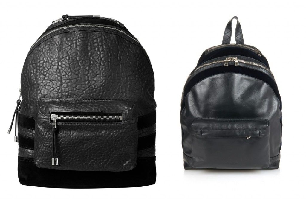 Balmain x HM Vs. the real deal: Balmain leather and velvet backpack avaialble at MR PORTER