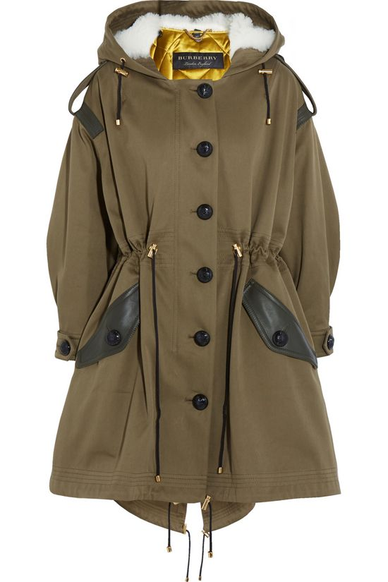 Burberry oversized hooded white shearlive olive green leather trimmed army green cotton-twill parka available at NET-A-PORTER