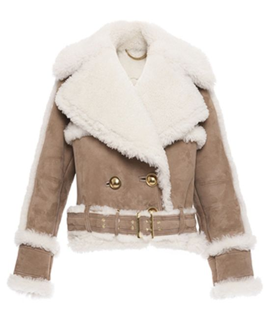 Burberry oversized shearling biker jacket available at MODA OPERANDI