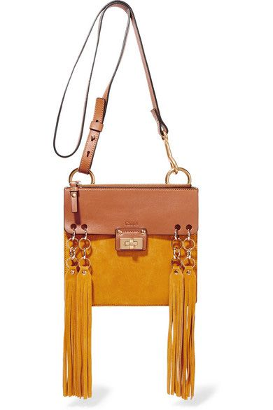 Chloé Jane small tan lether and mustard suede shoulder bag available at NET-A-PORTER