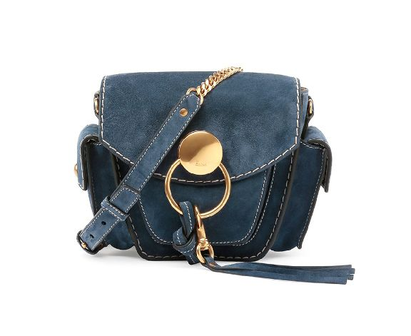 Chloé Jodie small navy blue suede camera bag available at NEIMAN MARCUS