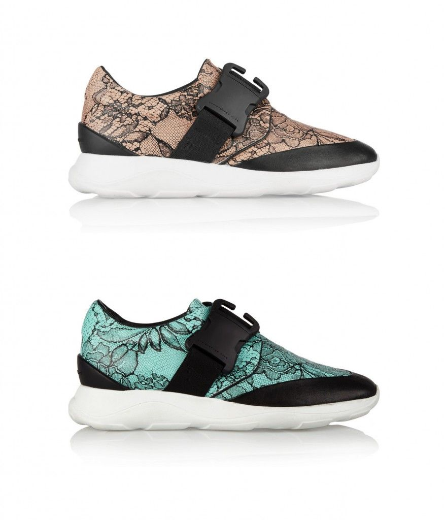 Christopher Kane black and beige leather sneakers printed in the label's signature 'lover's lace' motif, available at NET-A-PORTER