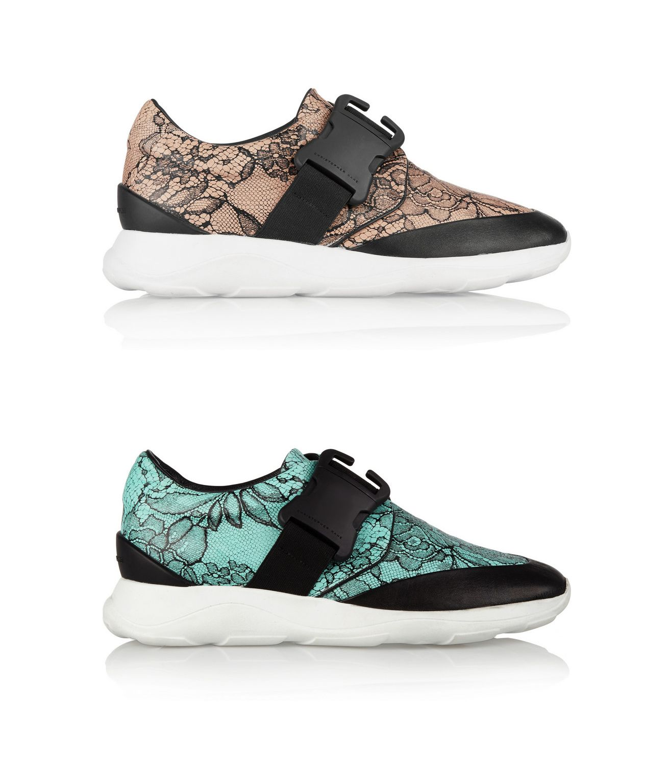 Christopher Kane black and beige leather sneakers printed in the label's  signature 'lover's lace'