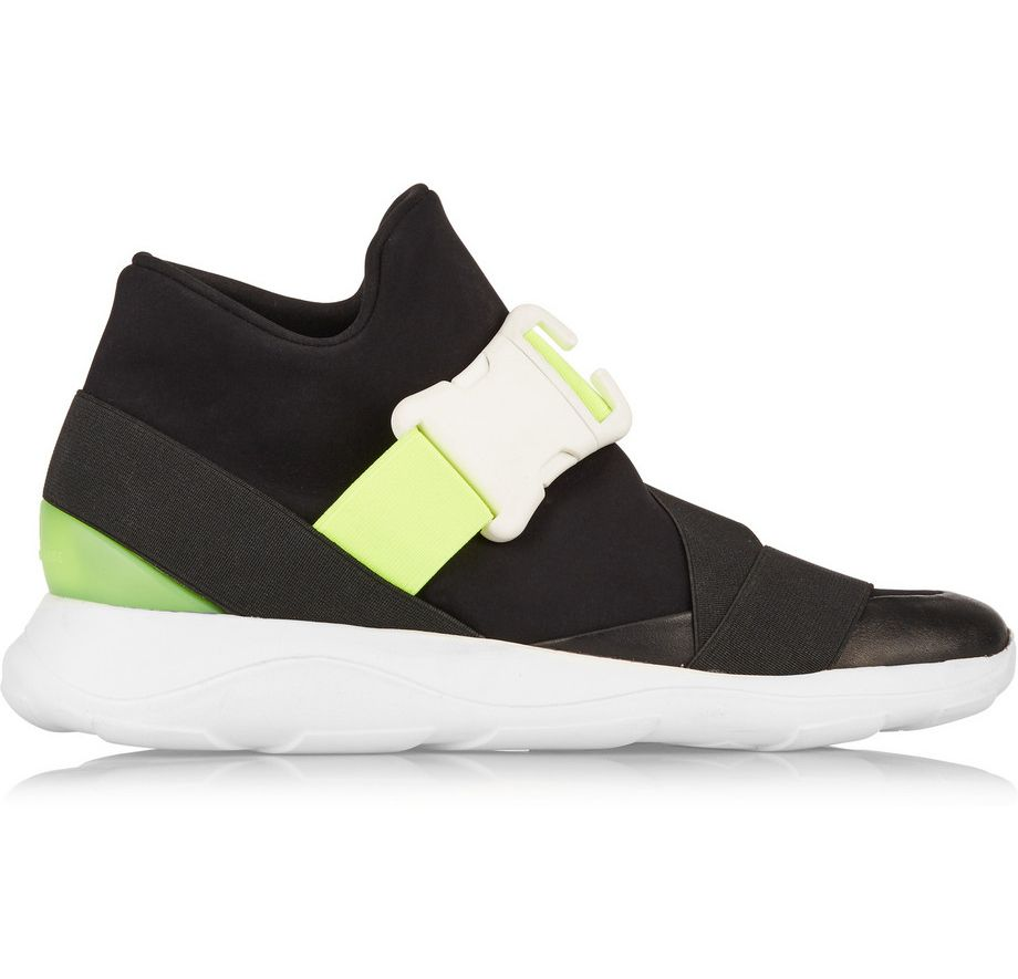 Christopher Kane neon and leather neoprene sneakers available at NET-A-PORTER