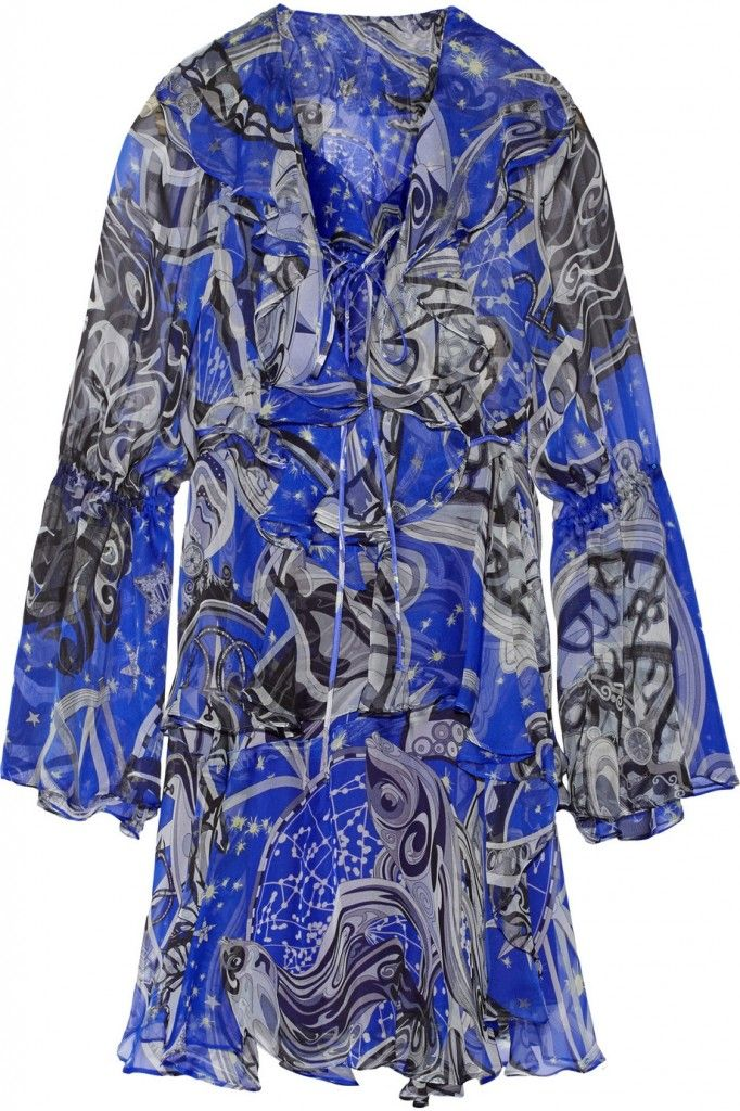 Emilio Pucci ruffled zodiac printed silk chiffon mini dress available HERE