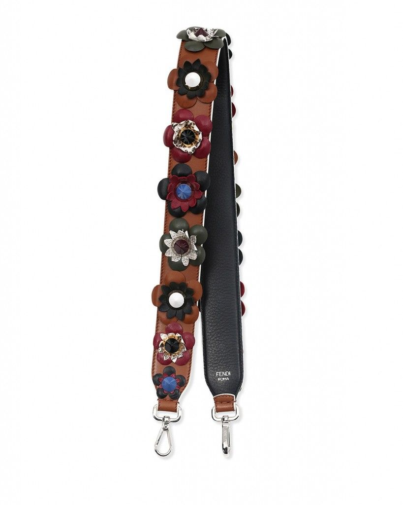 Fendi flower and stud leather guitar strap
