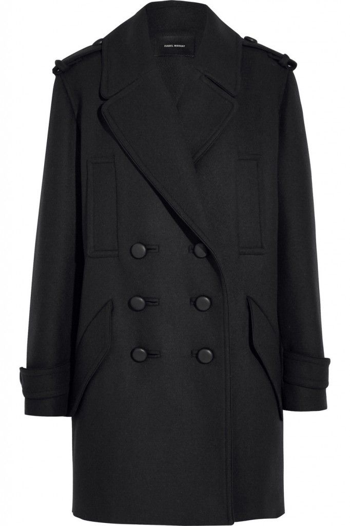 Isabel Marant Larky midgnight-blue double-breasted wool-blend coat available at NET-A-PORTER
