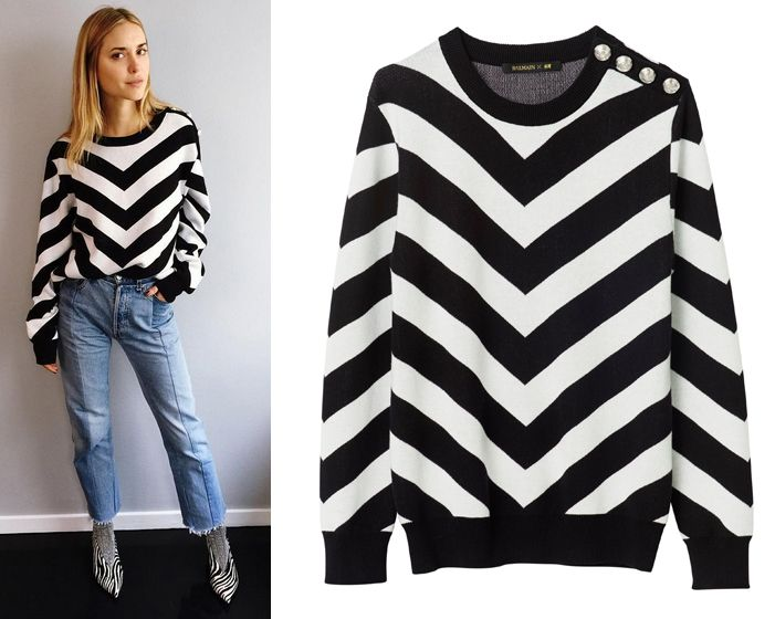 Look de Pernille wearing a balmain X HM chevron-patterned sweatshirt