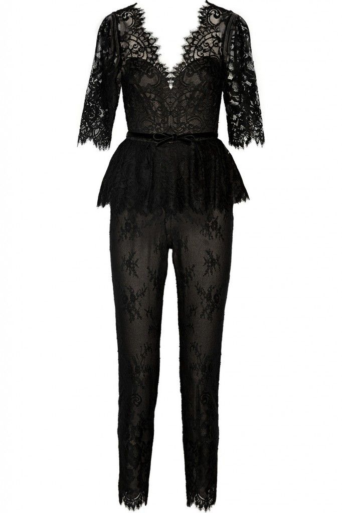 Marchesa Notte belted black lace jumpsuit 50% off avalable HERE