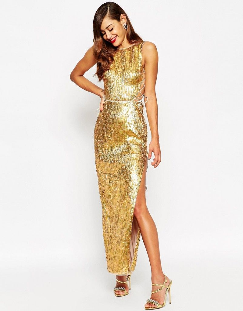 Asos Red Carpet gold shell lace up side maxi dress available HERE