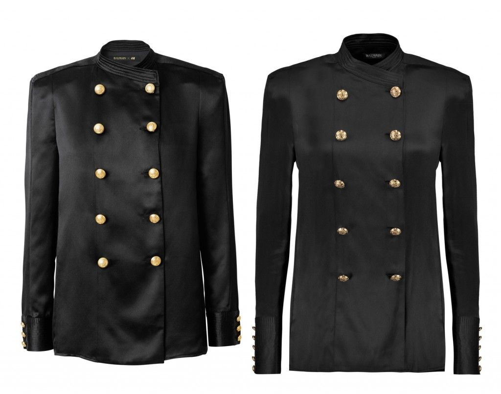 Balmain x HM Vs. the real deal: Balmain double-breasted black silk satin blouse available at THEOUTENET-com
