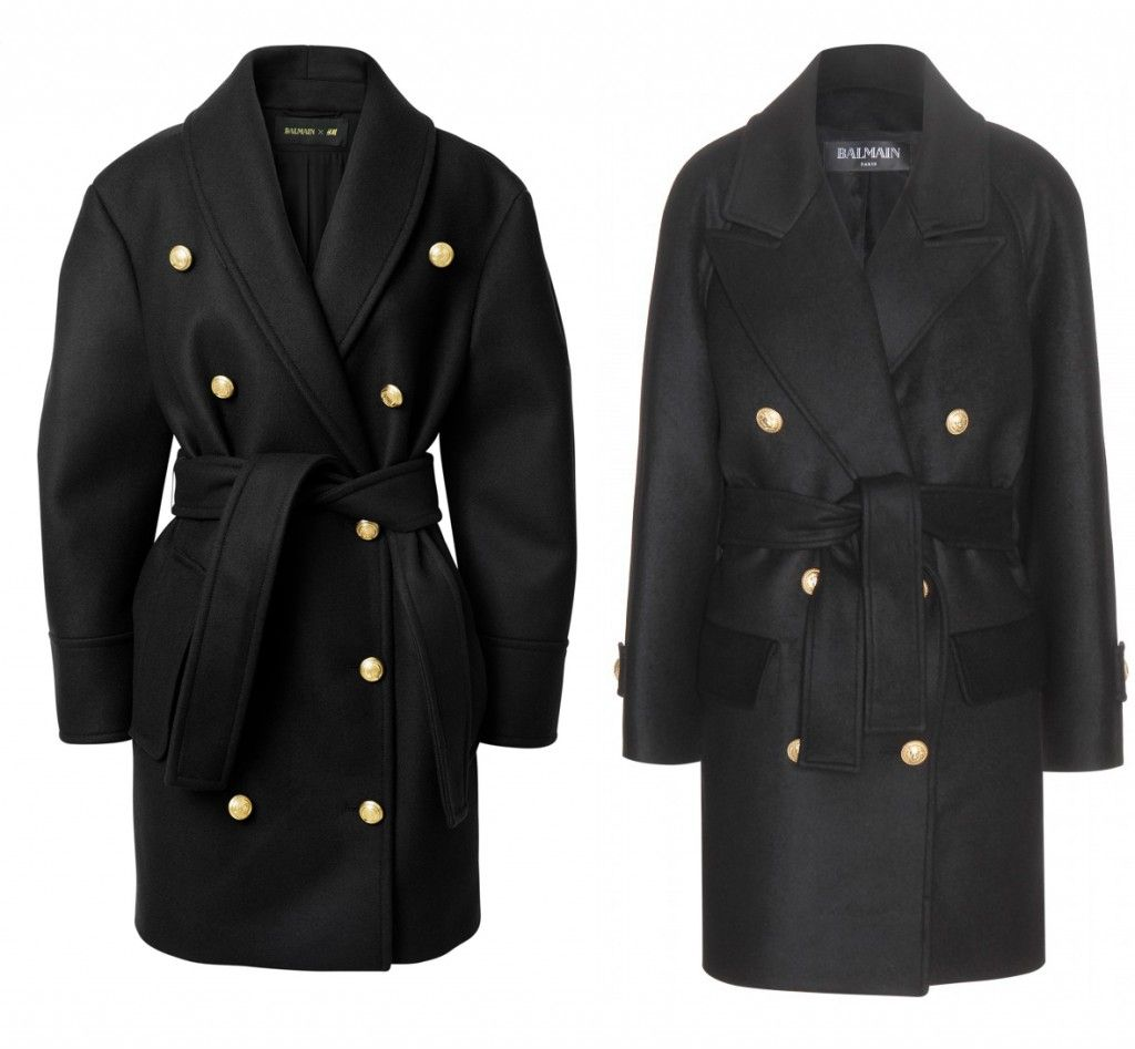 Balmain x HM Vs. the real deal: Balmain military-inspired double-breasted buttoned front wool coat available at MYTHERESA.com