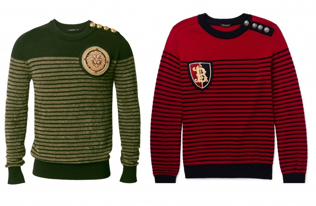 Balmain x HM Vs. the real deal: Balmain striped and embellished merino wool-blend sweater available at MR.PORTER