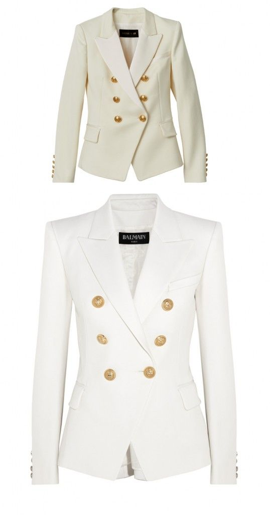 Balmain X HM Vs. the real deal: Balmain double-breasted white wool-twill blazer available at NET-A-PORTER