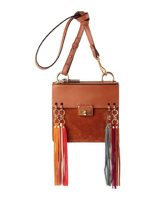 This Chloé Jane tassel-trim leather and suede crossbody bag is now available at NEIMAN MARCUS