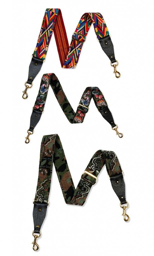 Geometric-embridered guitar strap for handbag available at NEIMAN MARCUS