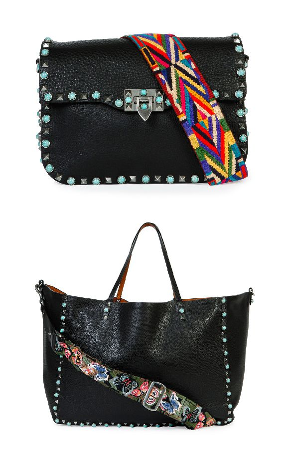 Rockstud Turquoise Stud Saddle Bag W Embroidered Strap Valentino