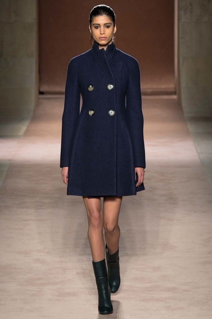 Victoria Beckham double-breasted navy wool coat available at NET-A-PORTER