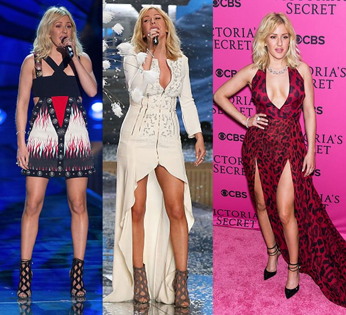 Ellie Goulding in Fausto Puglisi (during her performance onstage) and Versus Versace (on the red carpet).