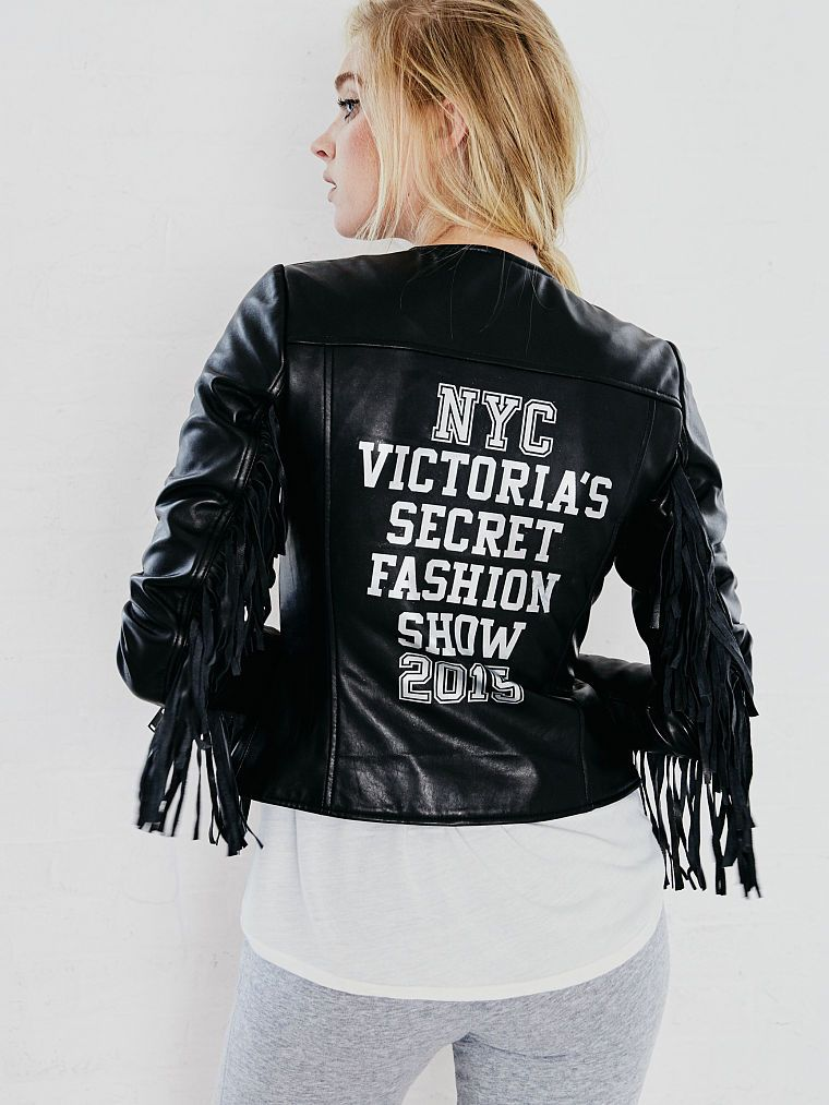 Victoria's Secret 2015 Fashion Show leather jacket available at VICTORIASSECRET.com