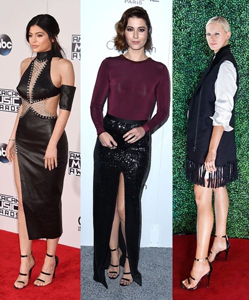 Kylie Jenner, Emilia Winstead and Karolina Kurkova wearing Tamara Mellon Frontline black patent leather sandals this fall.