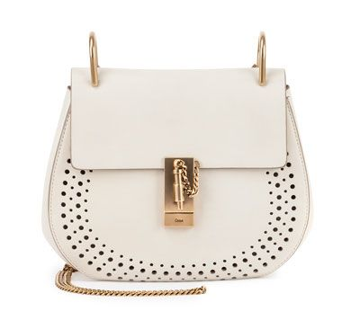 Chloé Drew white perforated leather small saddle bag available at BERGDORF GOODMAN