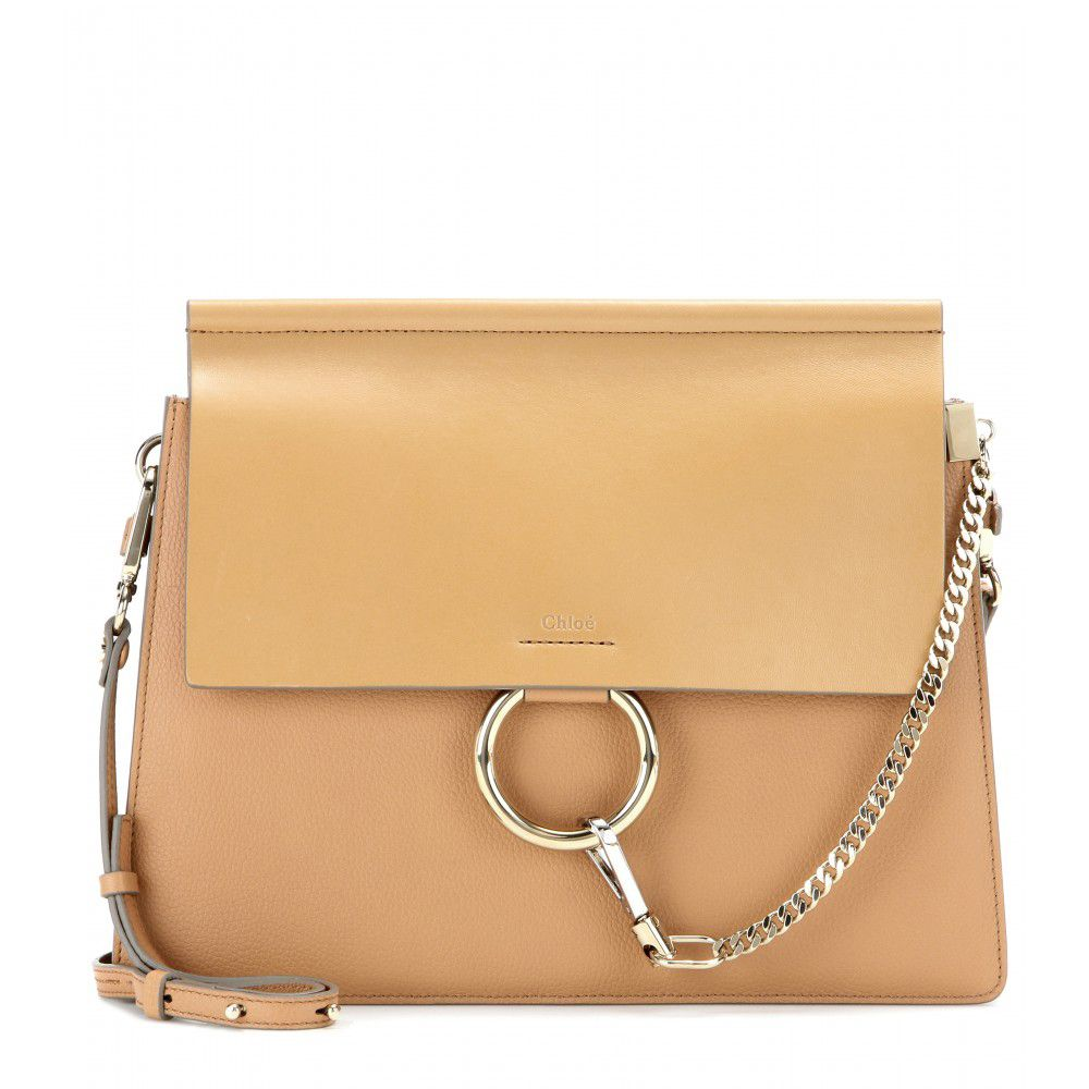 Chloé Faye camel grany and smooth leather shoulder bag available at MYTHERESA.com