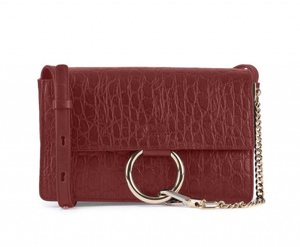 Chloé Faye small dark red crocodile stamped leather shoulder bag available at NEIMAN MARCUS