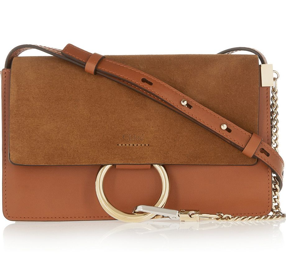 Chloé Faye small tan suede and leather shoulder bag available at NET-A-PORTER