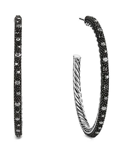 David Yurman black diamons hoop earrings available at NEIMAN MARCUS