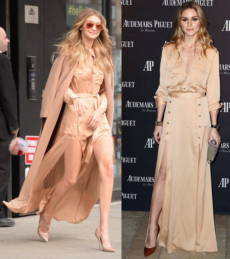 gigi-hadid-olivia-palermo-wearing-self-portrait-military-style-maxi-dress-in-camel-crepe