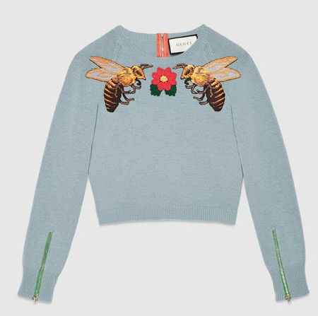 Gucci blue merino wool bee embroidered knit top available at GUCCI.com