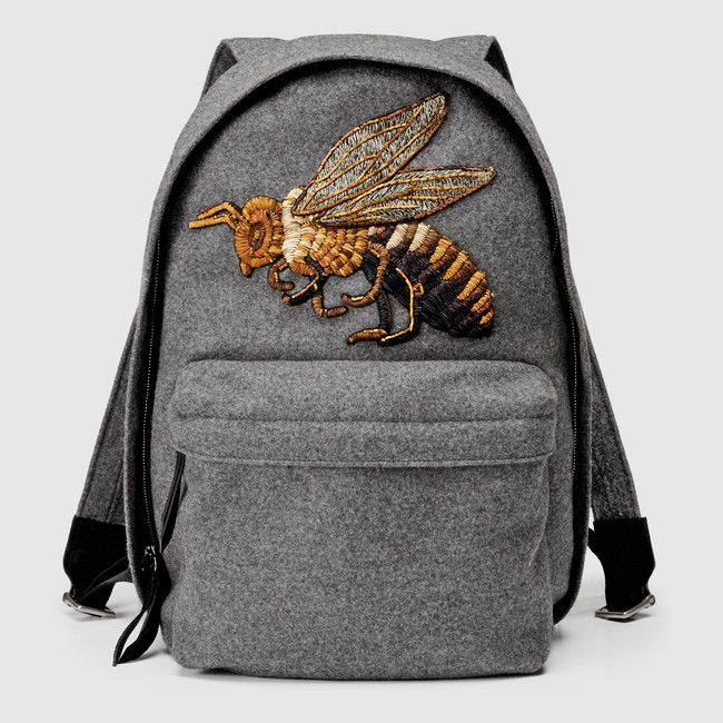 Gucci grey wool backpack with beaded and embroidered bee patch available at GUCCI.com