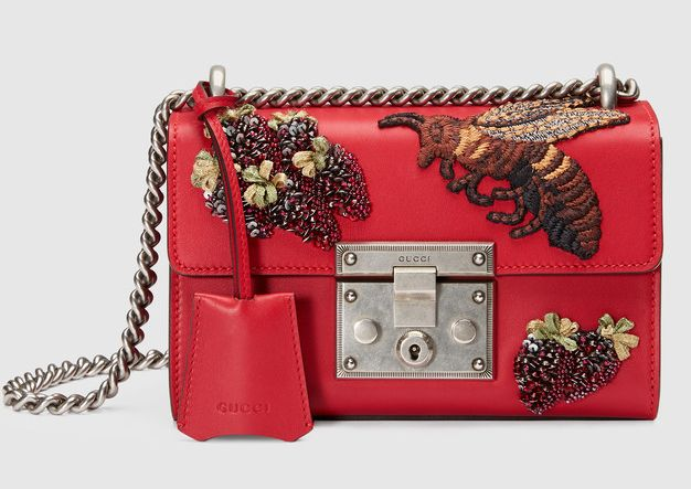 Gucci Padlock bee embroidered red leather shoulder bag available at GUCCI.com