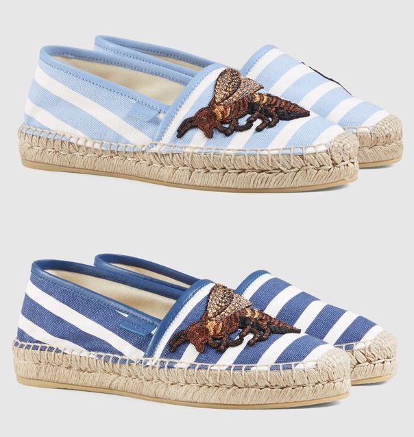 Gucci blue and white striped canvas espadrilles with bee embroidery available HERE and HERE at GUCCI.com