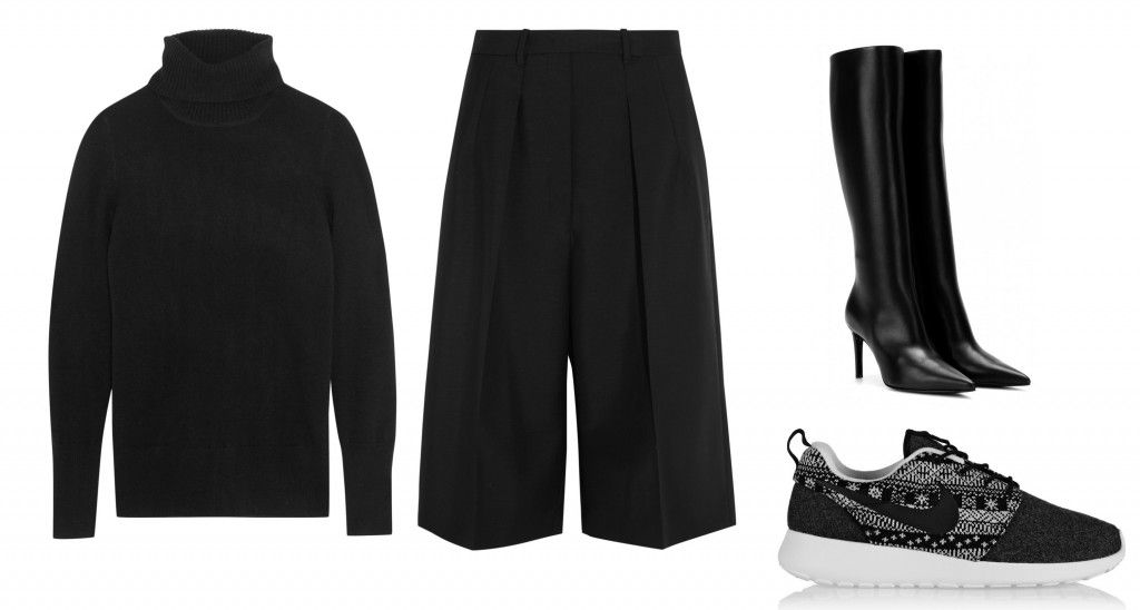 1- Cropped culottes + knee boots or sneakers