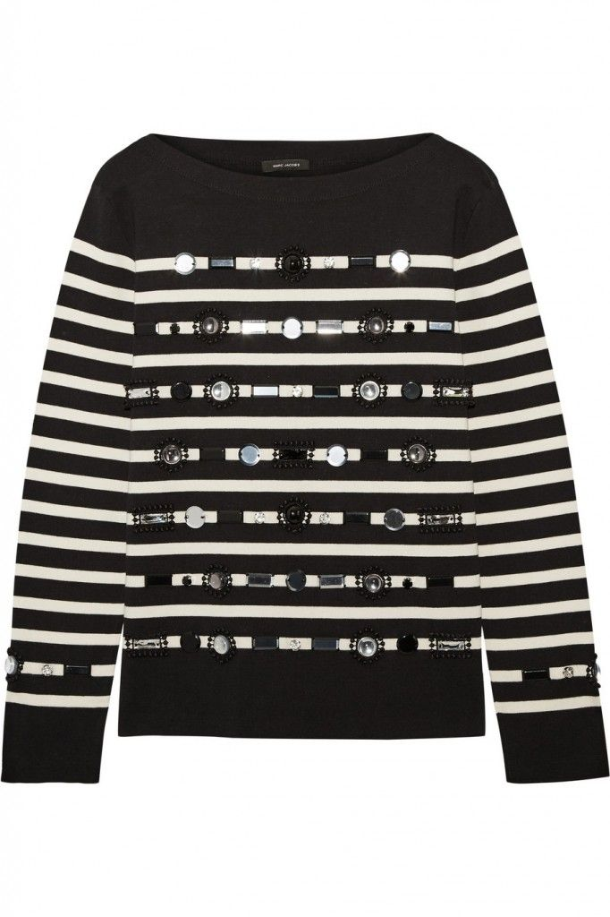 Marc Jacobs embellished black and cream striped cotton and cashmere sweater (from its Resort 2016 collection) available at NET-A-PORTER