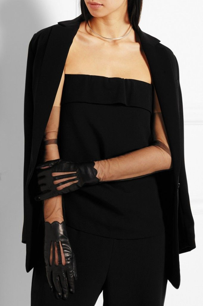 Maison Margiela leather and stretch mesh gloves available at NET-A-PORTER