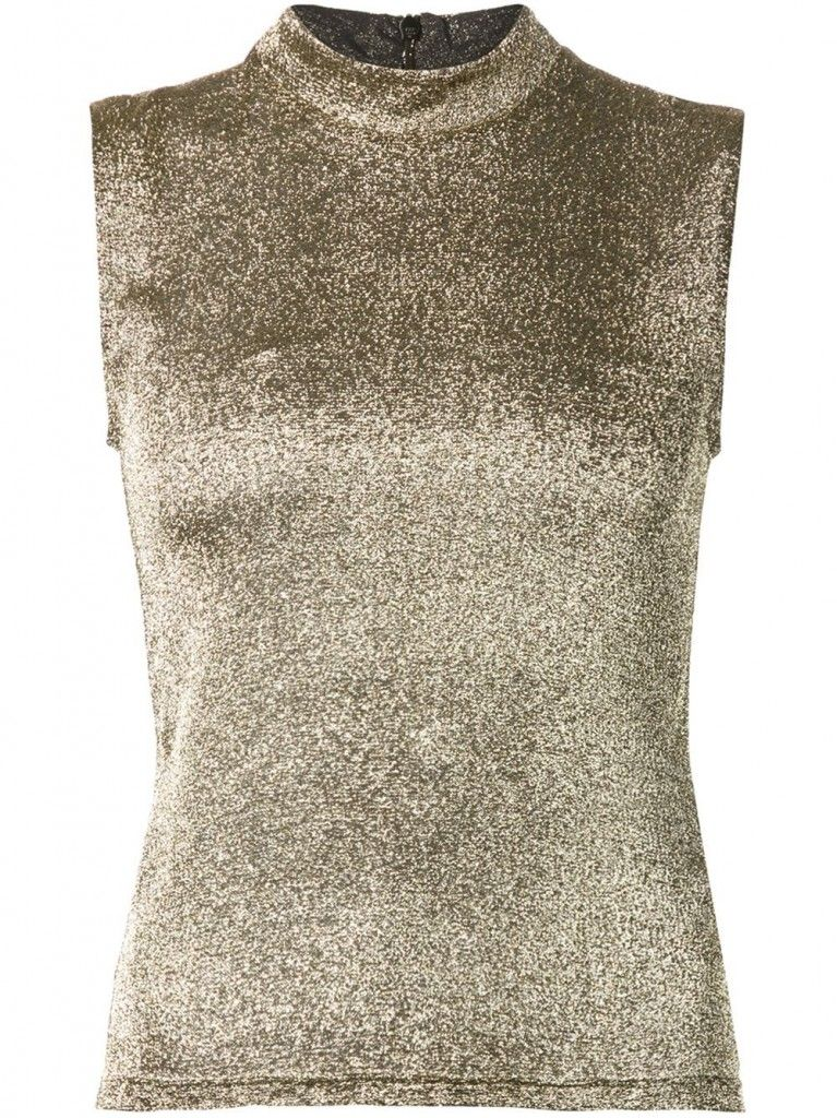 On Leandra: Rosetta Getty metallic sleeveless top available at FARFTECH.com