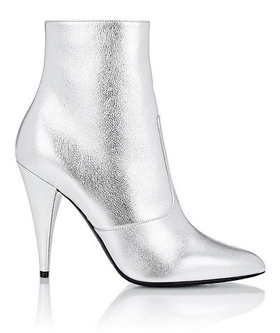 Saint Laurent Fetish silver metalic ankle boots available at BARNEY'S