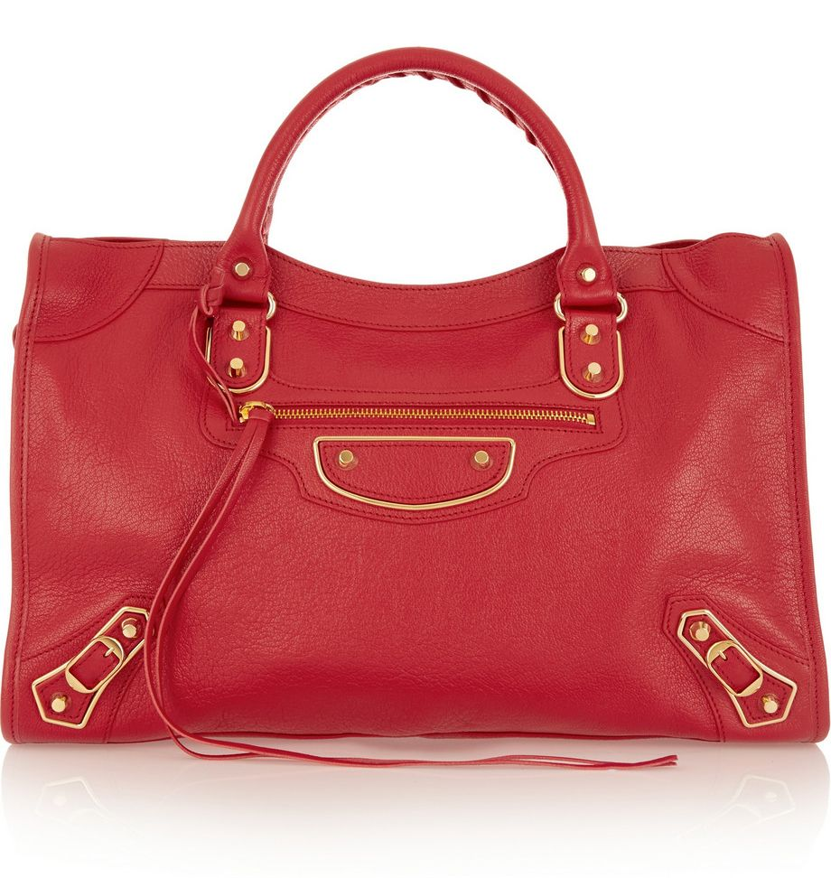 Balenciaga Holiday Collection Metallic Edge City red leather bag available at NET-A-PORTER