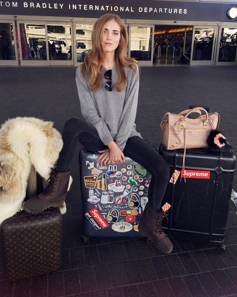 Chiara Ferragni at LAX ready to catch a fly to London