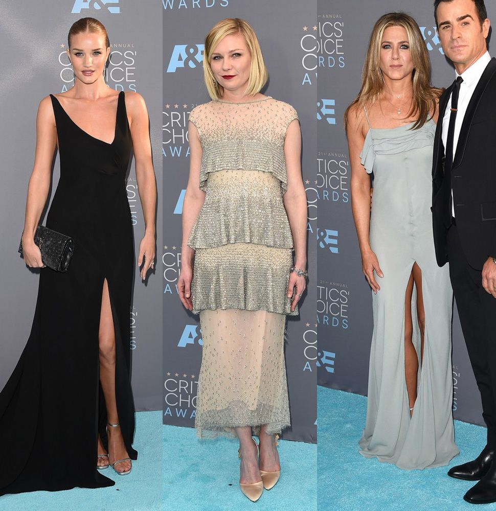 Rosie Huntington-Whiteley (in Saint Laurent), Kirsten Dunst (in Karl Lagerfeld) and Jennifer Aniston (in Saint Laurent)